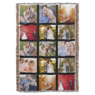 Photo Collage 15 photos Black Throw Blanket