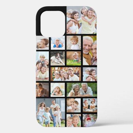 Photo Collage 18 Photos Custom Color Black iPhone 12 Case