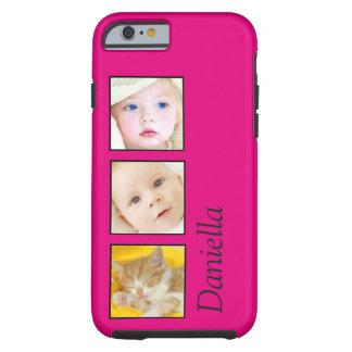 Photo Collage - 3 photos and name Tough iPhone 6 Case