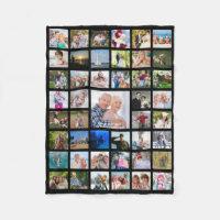 Photo Collage 45 Pics Editable Color Personalized Fleece Blanket