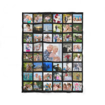 Photo Collage 45 Pics Editable Color Personalized Fleece Blanket