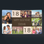 """Photo Collage 7 Picture Personalized 18th Birthday Banner<br><div class=""""desc"""">Personalized banner celebrating an 18th Birthday. The photo template is set up for you to add 7 of your favorite photos which are displayed in a photo collage around the birthday greeting. The wording simply reads """"Happy Birthday [your name]"""" in casual typography. """"18"""" is actually editable if you would like...</div>"""
