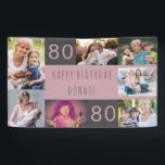 """Photo Collage 7 Picture Personalized 80th Birthday Banner<br><div class=""""desc"""">Personalized banner celebrating an 80th Birthday. The photo template is set up for you to add 7 of your favorite photos which are displayed in a photo collage around the birthday greeting. The wording simply reads """"Happy Birthday [your name]"""" in casual typography. """"80"""" is actually editable if you would like...</div>"""