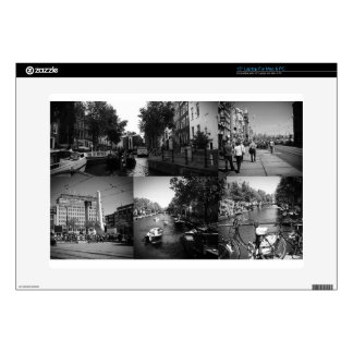 Photo collage Amsterdam 1 in black and white Laptop Skins