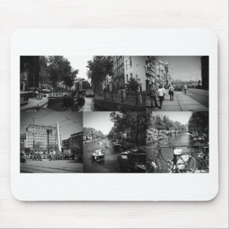 Photo collage Amsterdam 1 in black and white Mouse Pad