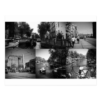 Photo collage Amsterdam 1 in black and white Postcard