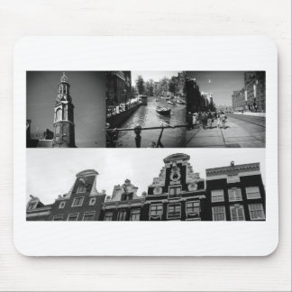Photo collage Amsterdam 2 in black and white Mouse Pad