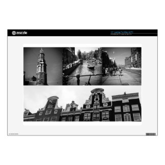 """Photo collage Amsterdam 2 in black and white Skins For 15"""" Laptops"""