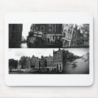 Photo collage Amsterdam 3 in black and white Mouse Pad