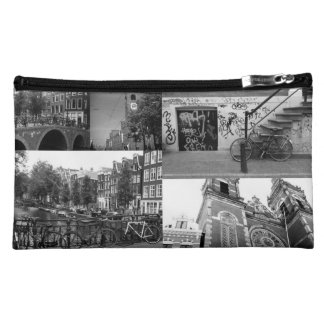 Photo collage Amsterdam 4 in black and white Cosmetic Bag