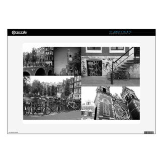 """Photo collage Amsterdam 4 in black and white Decal For 15"""" Laptop"""
