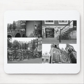 Photo collage Amsterdam 4 in black and white Mouse Pad
