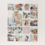 """Photo Collage and Monogram Jigsaw Puzzle<br><div class=""""desc"""">Customize this photo puzzle with 19 square photos arranged in a grid collage layout. Your single initial monogram appears on a pastel blush pink square at the lower right. Perfect for family photos or wedding photos.</div>"""