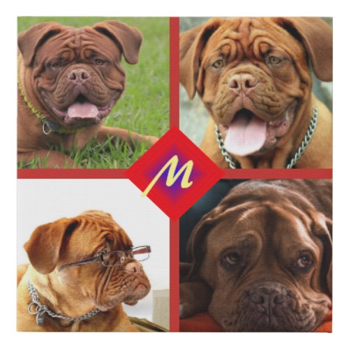 Photo Collage Any Color Background Dog Template Faux Canvas Print