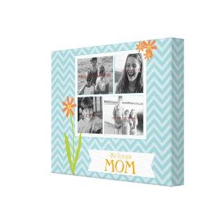 Aqua chevron photo collage canvas for Mom. By Carla Schauer Designs on Zazzle