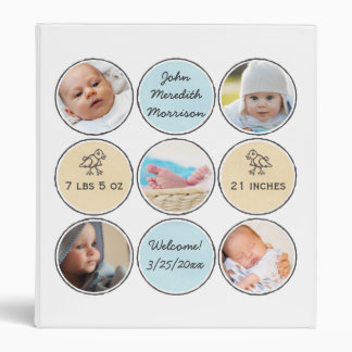 Photo Collage Baby Boy Name, birth stats and duck 3 Ring Binder
