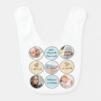 Photo Collage Baby Boy Name, birth stats and duck Bib