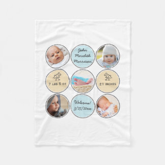 Photo Collage Baby Boy Name, birth stats and duck Fleece Blanket