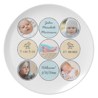 Photo Collage Baby Boy Name, birth stats and duck Melamine Plate