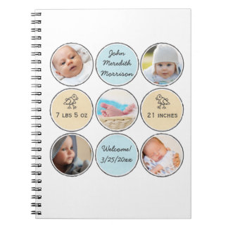 Photo Collage Baby Boy Name, birth stats and duck Spiral Notebook