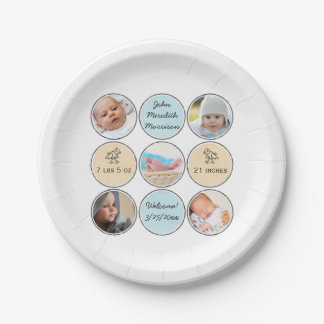 Photo Collage Baby Boy Name, birth stats and duck Paper Plate
