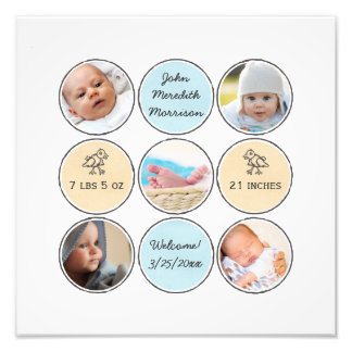 Photo Collage Baby Boy Name, birth stats and duck