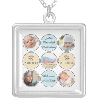 Photo Collage Baby Boy Name, birth stats and duck Square Pendant Necklace