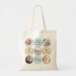Photo Collage Baby Boy Name, birth stats and duck Tote Bag