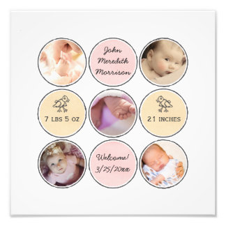 Photo Collage Baby Girl Name, birth stats and duck