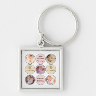 Photo Collage Baby Girl Name, birth stats and duck Keychain