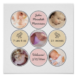 Photo Collage Baby Girl Name, birth stats and duck Poster