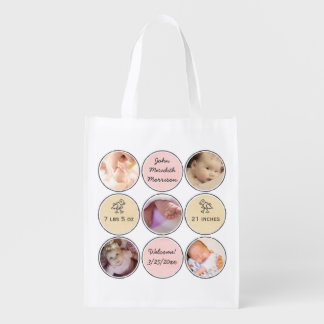 Photo Collage Baby Girl Name, birth stats and duck Reusable Grocery Bag