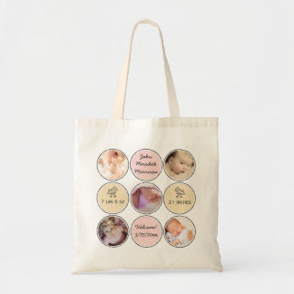 Photo Collage Baby Girl Name, birth stats and duck Tote Bag