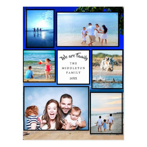 Photo Collage Beach We are Family Postcard