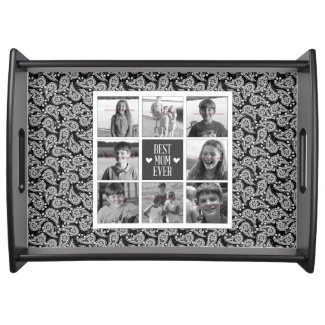 Black and white paisley photo collage tray for Mom. By Carla Schauer Designs on Zazzle