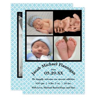 Photo Collage Blue Boy -Birth Announcement
