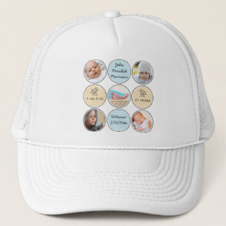 Photo Collage Boy Name, birth stats and duck Trucker Hat
