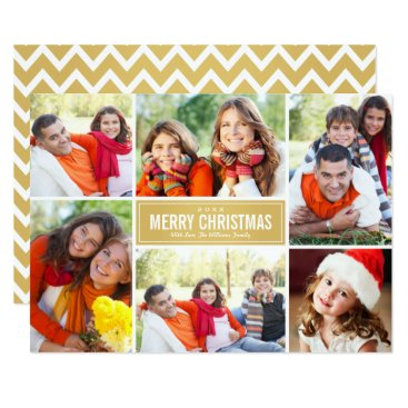 Christmas Themed Photo Collage Christmas Card | Gold Chevron