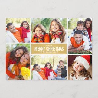 Photo Collage Christmas Card | Gold Chevron