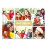 Photo Collage Christmas Card   Gold Chevron