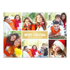 Photo Collage Christmas Card | Gold Chevron at Zazzle