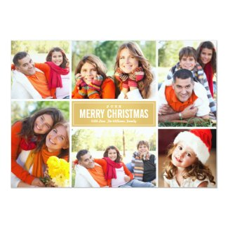 Photo Collage Christmas Card | Gold Chevron