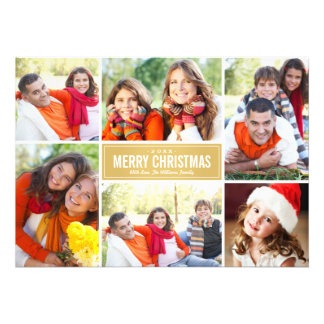 Photo Collage Christmas Card Gold Chevron