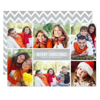 Photo Collage Christmas Card | Silver Chevron