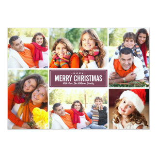 Photo Collage Christmas Greeting Card | Burgundy