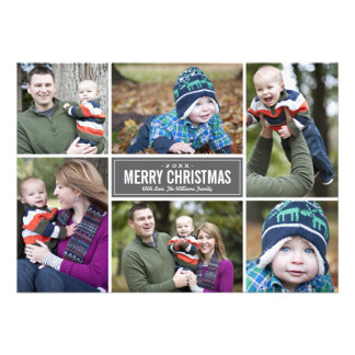 Photo Collage Christmas Greeting Card | Gray Personalized Invites
