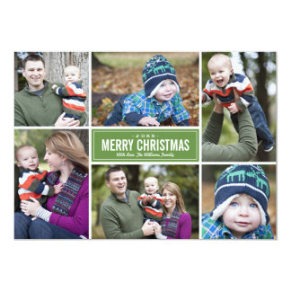 Photo Collage Christmas Greeting Card | Green