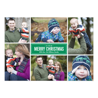 Photo Collage Christmas Greeting Card Green Invite