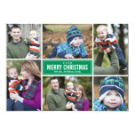 Photo Collage Christmas Greeting Card | Green Invite