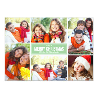 Photo Collage Christmas Greeting Card | Mint Green